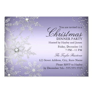 Purple Crystal Snowflake Christmas Dinner Party Card