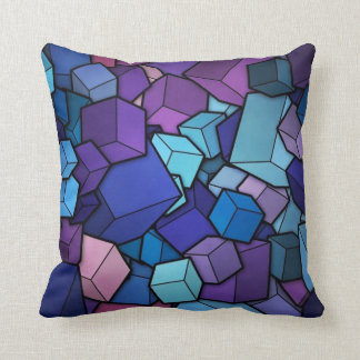 Purple Cubes Throw Pillows