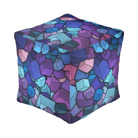 Purple Cubes Pouf