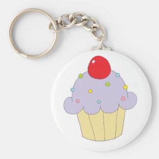 Purple Cupcake Basic Round Button Keychain