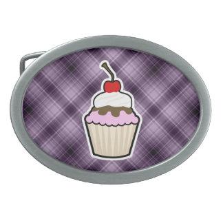 Purple Cupcake Oval Belt Buckles