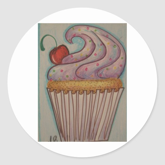 Purple cupcake classic round sticker