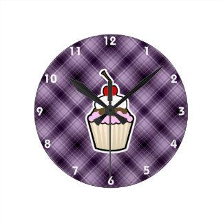 Purple Cupcake Wall Clock