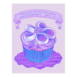 Purple Cupcake~Good Gift Scripture Postcard