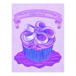Purple Cupcake~Good Things~ Scripture Postcard