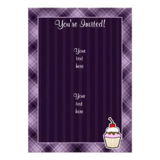 Purple Cupcake Personalized Invitations