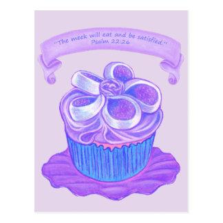 Purple Cupcake~Meek Eat Scripture Postcard