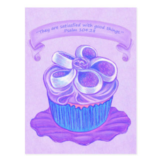 Purple Cupcake on Plate 4 ~ Scripture Postcard