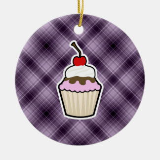 Purple Cupcake Christmas Tree Ornament