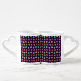 Purple cupcake pattern lovers mug set