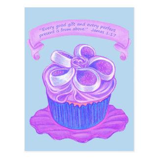 Purple Cupcake~Perfect Present Scripture Postcard