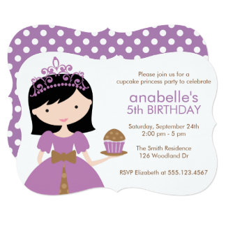 Purple Cupcake Princess Birthday Party Card