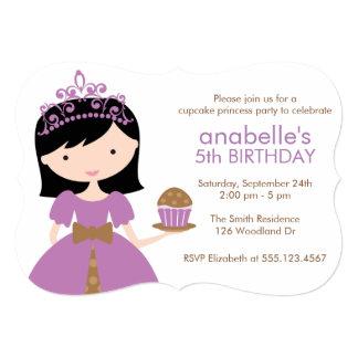 Purple Cupcake Princess Birthday Party 5x7 Paper Invitation Card