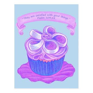 Purple Cupcake~Satisfied Good Scripture Postcard
