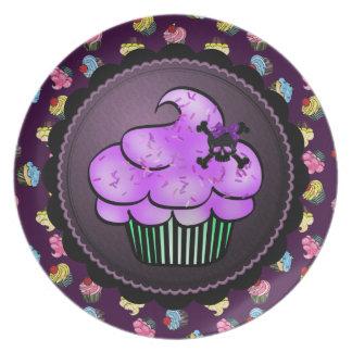 Purple Cupcake & Skull Plate