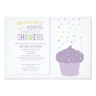"Purple Cupcake Sprinkles Baby Shower Invitation 5"" X 7"" Invitation Card"
