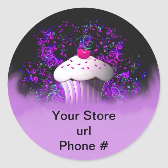 Purple Cupcake Sticker Promote Your Business