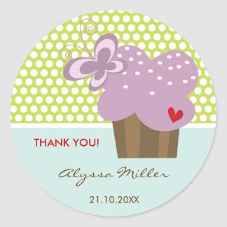 Purple Cupcake Thank You Birthday Party Gift Tag Round Sticker
