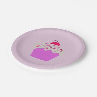 Purple Cupcake with a Cherry on Top Paper Plate