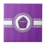 Purple Cupcake with White Sprinkles Ceramic Tile
