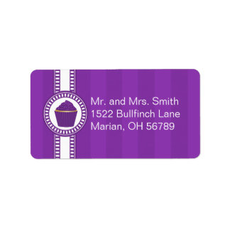 Purple Cupcake with White Sprinkles Address Label