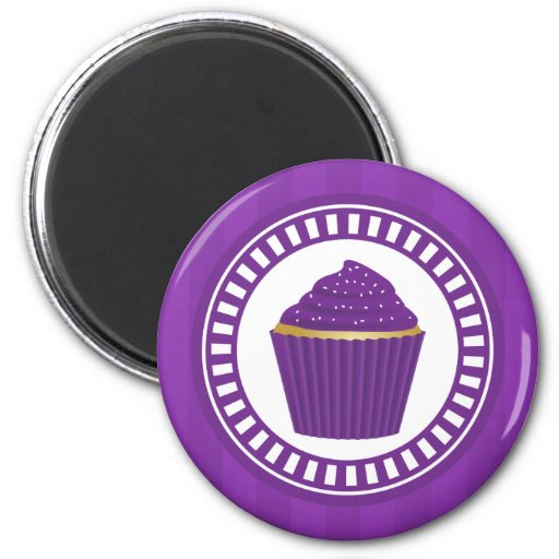Purple Cupcake with White Sprinkles Refrigerator Magnets