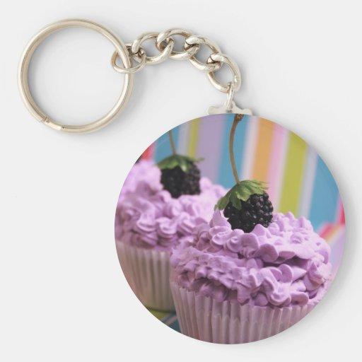 Purple Cupcakes Basic Round Button Keychain