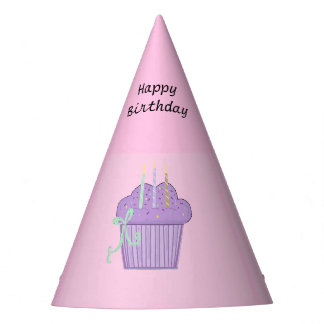 Purple Cupcakes With Birthday Candles Party Hat