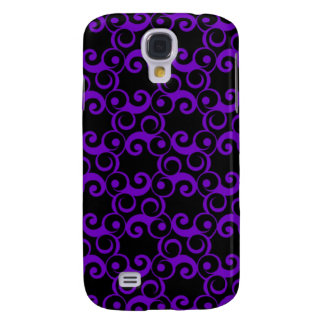 Purple Curlies on Black Galaxy S4 Covers