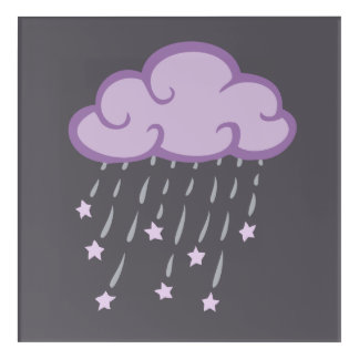 Purple Curls Rain Cloud With Falling Stars Acrylic Wall Art