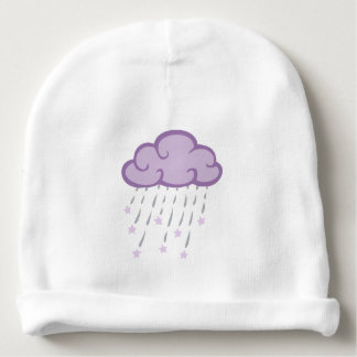 Purple Curls Rain Cloud With Falling Stars Baby Beanie