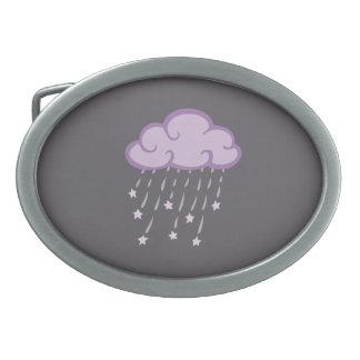 Purple Curls Rain Cloud With Falling Stars Belt Buckle