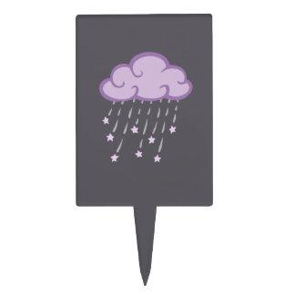 Purple Curls Rain Cloud With Falling Stars Cake Topper