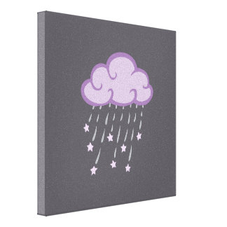 Purple Curls Rain Cloud With Falling Stars Canvas Print