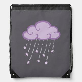 Purple Curls Rain Cloud With Falling Stars Drawstring Bag