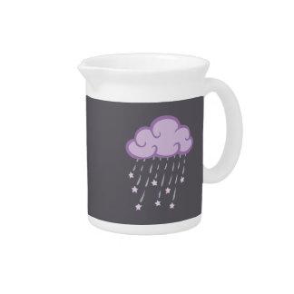 Purple Curls Rain Cloud With Falling Stars Drink Pitcher
