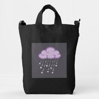 Purple Curls Rain Cloud With Falling Stars Duck Bag