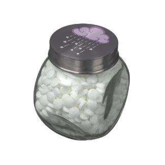 Purple Curls Rain Cloud With Falling Stars Glass Jars