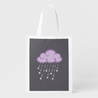 Purple Curls Rain Cloud With Falling Stars Grocery Bag