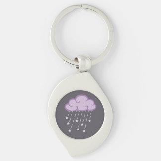 Purple Curls Rain Cloud With Falling Stars Keychain