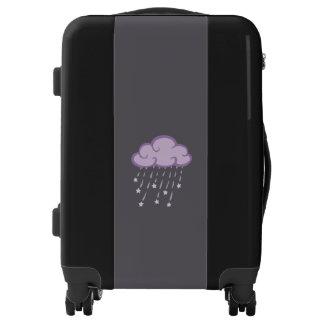 Purple Curls Rain Cloud With Falling Stars Luggage