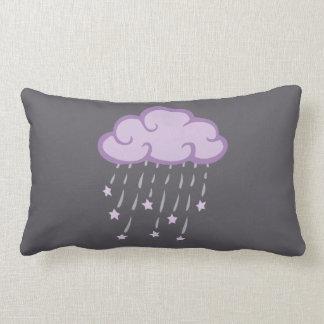 Purple Curls Rain Cloud With Falling Stars Lumbar Pillow