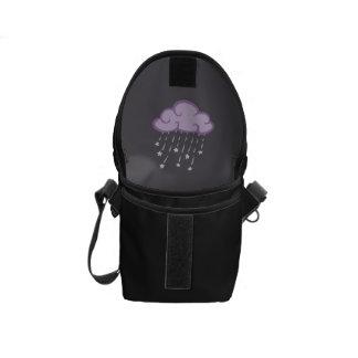 Purple Curls Rain Cloud With Falling Stars Messenger Bag