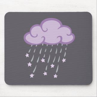 Purple Curls Rain Cloud With Falling Stars Mouse Pad