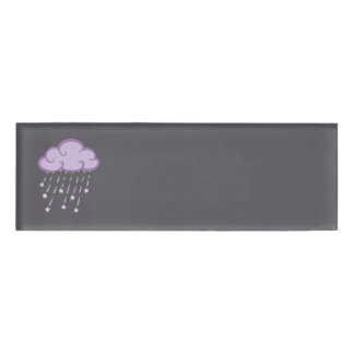Purple Curls Rain Cloud With Falling Stars Name Tag