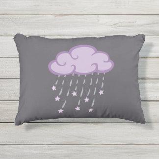 Purple Curls Rain Cloud With Falling Stars Outdoor Pillow
