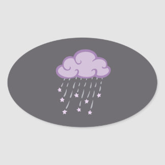 Purple Curls Rain Cloud With Falling Stars Oval Sticker