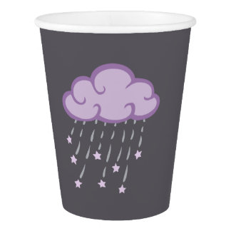 Purple Curls Rain Cloud With Falling Stars Paper Cup