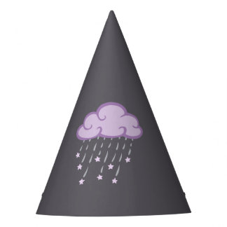 Purple Curls Rain Cloud With Falling Stars Party Hat