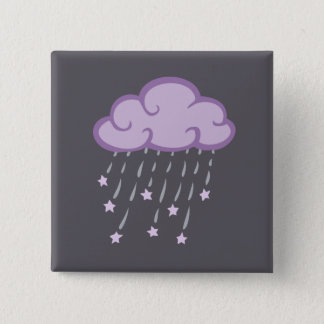 Purple Curls Rain Cloud With Falling Stars Pinback Button